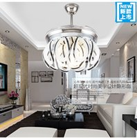 Wholesale Novel invisible ceiling light LED fan with variable remote control ceiling fan lights simple modern living room dining room