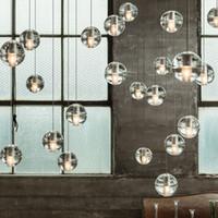 Wholesale VALLKIN LED Crystal Glass Ball Pendant Lamp Meteor Rain Ceiling Light Meteoric Shower Stair Bar Droplight Chandelier Lights AC110 V