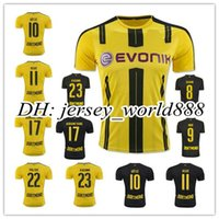 football shirt - Top Thai quality Dortmund home yellow soccer jersey AUBAMEYANG GOTZE MOR KAGAWA REUS SAHIN away black football shirt