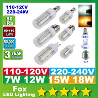 Wholesale LED Light Warm White E27 LED Bulbs W W W W Lumen Cree SMD With Cover E14 G9 lights Corn Lighting