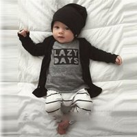 Wholesale Wholesal INS Baby Clothing Cartoon Cotton Baby Outfits Sets Spring Autumn T shirts Letter Trouser Clothes Suit