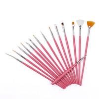 Wholesale 15pcs set New Pink Professional Nail Art Brush Set Design Painting Pen Nail Painting Decor Art Brushes