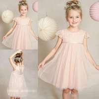 Wholesale 2017 Short Blush Pink Flower Girl Dresses For Weddings Tulle Lace Knee Length Spring Pretty Little Kids Gown First Communion Dress Girls