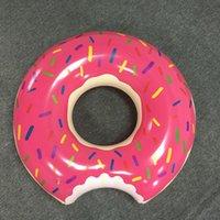 2016 Brinquedos de água de 48 polegadas Gigantic Donut natação Flutuador inflável natação Anel Adult Pool flutua 2 cores (Morango e Chocolate)