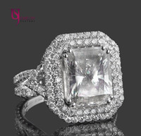 american art stone - 7 Radiant Cut Diamond Engagement Ring Triple Halo Art Deco k White Gold