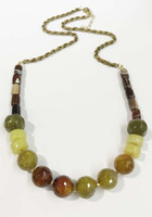 beaded tube necklace - Multi semi stones beaded necklace fire agate stone necklace green aventurine stone necklace tube agate beads necklace black diamond glass