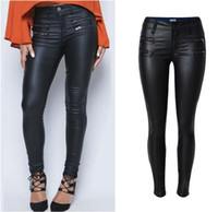Wholesale New Sexy Womens Casual Low Waist Stretchy Wet Look PU Jeans Faux Leather Black Pencil Pants For women plus size women clothes