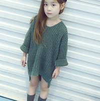 baby knit sweater - 2016 Autumn Girls Long Tops Sweater Baby Kids V Neck Knitted Pullovers Children Girl Knitwears Sweaters Gray Green Brown