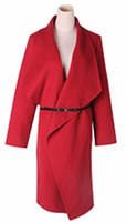 Wholesale New Women s Woolen Coat Simple have Pocket Soft and light Genrous Fashion Wool Cashmere