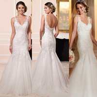 new york dresses - Stella York Mermaid Lace Wedding Dresses Mermaid Deep V Neck Court Train Tiers Covered Buttons Bridal Gowns New