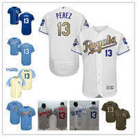 best programs - 2016 Kansas City Royals Salvador Perez Authentic Jersey White grey blue Gold Program Flexbase Collection Baseball Jersey Best Quality