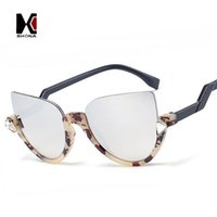 bendable frames - Fashion Women Rhinestone Decration Sunglasses Brand Designer Cat Eye Sun Glasses Classic Semi rimless Bendable Leg Eyewear UV400