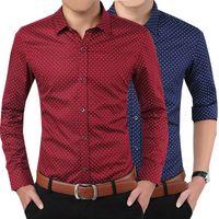 asia single - New Brand Men s Shirts Easy Care Casual Slim Designer Print Camisa Cotton Shirts Asia Size M XL