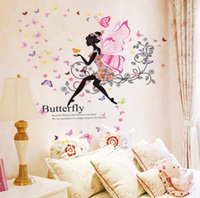 art deco people - Flower fairy wings girl butterfly around wall stickers wall romantic warm glass decorative stickers for living room bedroom deco