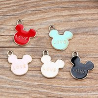 Wholesale 5 colors option cartoon style cute metal Mickey love charms pendant fashion decorations charms for pendants