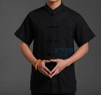 Wholesale Black New Vintage Chinese Men s Cotton Kung Fu Shirt Top with Pocket Size S M L XL XXL XXXL XXXXL LD286