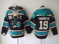 best mens hoodies - San Jose Sharks Mens Ice Hockey Hoodies JOE THORNTON Black Ice Hockey Sweaters Name Number All Stitched Best Quality