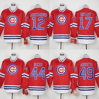 Wholesale Chicago Cubs Hoodies Kyle Schwarber Kris Bryant Jake Arrieta Anthony Rizzo Baseball Jerseys Red long Sleeve size S XL