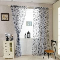 Wholesale Hot Sales Fashion Voile Curtain Charm Butterfly Window Home Decor Panel Window Room Divider Sheer Curtains JI0132