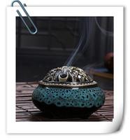 Wholesale New Celadon incense copper cover ceramic Buddha antique incense incense sandalwood incense alloy small incense burner