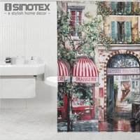 Wholesale 1PCS cm Retro Coffee House Shower Curtain Mouldproof Waterproof Bath Curtain For Bathroom