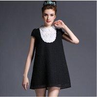 adult size bibs - Party Dress elegant Eyelet Short Sleeve A line Mini Bib Dresses Women Summer Plus Size