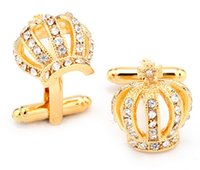 Wholesale Classical Crown gold engraved cufflink with diamond crystal crown french cufflinks