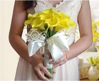 Желтые лилии RU-Красивые Дешевые 30шт Калла Цветы Люкс Свадебные букеты невесты Формальные Сад Церковь Пляж Свадьба Женщины Белый Желтый