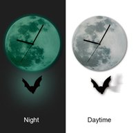 Wholesale Creative D Glow in Dark Earth Wall Clock for Home Decor Bedroom Halloween Day inch