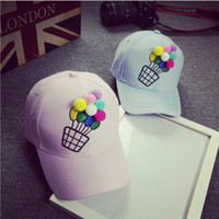 baseball balloons - Three dimensional embroidery small fresh color in spring and summer female hot air balloon curved eaves baseball cap
