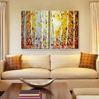 Wholesale Handpainted Modern Home Decor Painting Living Room Hall Wall Art Picture Thick Colors Tree Autumn Scenery Oil Painting on Canvas