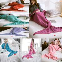 Wholesale Handmade Mermaid Tail Blankets Crochet Mermaid Blankets Mermaid Tail Sleeping Bags Cocoon Mattress Knit Sofa Blanket