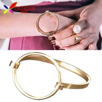 Wholesale 2016 New Fashionable Rock amp Roll Gold Silver Plated Big Circle Geo Bangles amp Bracelets for Women pulseiras de couro