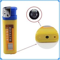 Wholesale 100 Yellow blue Mini DV lighter Camera mini video camera Lighter Spy Cameras portable Video Photo Recording video support for TF card