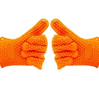 Wholesale BBQ Silicone Grilling Gloves Set Great for Barbeque Cooking Oven Baking Smoking Potholder Lawn Garden Home Kitchen Orange Pair
