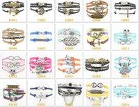 bar party games - Hot freindship charm bracelets randomly mixed Flower Believe Hunger Games Anchorcr Love Jesus Owl Multilayer Pattern Leather Bracelet