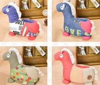Wholesale Metoo Cute cartoon wooden horse Mobile phone holder Home cloth doll household Creative gift gift plush Trojan Mobile phone holder