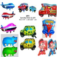 balloon animal car - Cute animal car plane Spider Man cartoon aluminum foil helium balloons automatic sealed Birthday Party Activity amusement Decoration