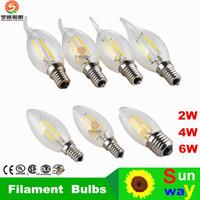 all'ingrosso candles-luci led al dettaglio lampade lampadari E14 E12 E27 ha condotto la candela della lampadina LED lampade di illuminazione a LED 2W 4W 6W Luci d'oro d'argento moderna
