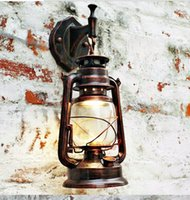 Wholesale Lighting Vintage Edison Barn Lantern Iron Kerosene Lamp Oil Light Wall Aisle Red Copper Color Industrial