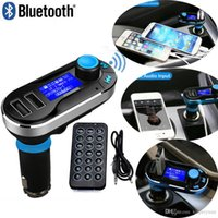 Wholesale 100pcs Best Bluetooth Car Kit Handsfree MP3 Player With FM Transmitter Dual USB Car Charger Support SD Line in AUX BT66 Free DHL Shipping