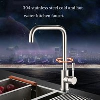Wholesale Green stainless steel kitchen faucet handle single hole cold and hot water can rotate degrees can rotate wire drawing