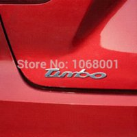 abc car - Top Quality Turbo Words Glue Stickers Universal Silver Decoration ABC Car Sticker Emblem the Whole Body Auto English word badge