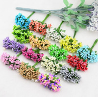 artificial flower stems - 12PCS Mulberry party Artificial Flower Stamen wire stem marriage leaves stamen DIY wreath wedding box decoration