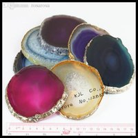 agate coasters - Natural crystal druzy quartz geode agate slice coaster cup fashion drusy stone coaster jewelry as display tool Christmas gift