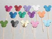 accessories mouse decor - mix colors Glitter mouse cupcake toppers Food Picks rustic wedding party baby bridal shower birthday cake topper decor