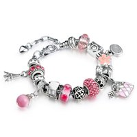 bags copper sets - AA46 Romantic Charm Bracelet Bangle for Women With Bag Charm Crystal Beads DIY Snake Chain Gift Wife