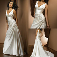 Wholesale V neck Backless Wedding Dresses Plus size Ruffles Appliques Sweep train Elegant Cheap Simple Hot sale Bridal gowns Wedding Events
