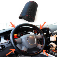 Wholesale 1pcs Car Truck Black Leather Steering Wheel Cover With Needles and Red Thread DIY