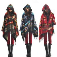 Wholesale 12 Women Bohemian Hooded Shawl Wool Cape Irregular Geometric Pattern Autumn Colorful Poncho Shawl Tassels Fringe Scarves Wraps PPA487